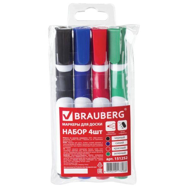 """Маркеры для доски BRAUBERG """"SOFT"""", набор 4 шт., резиновая вставка, 5 мм (синий, черный, красный, зеленый)"""