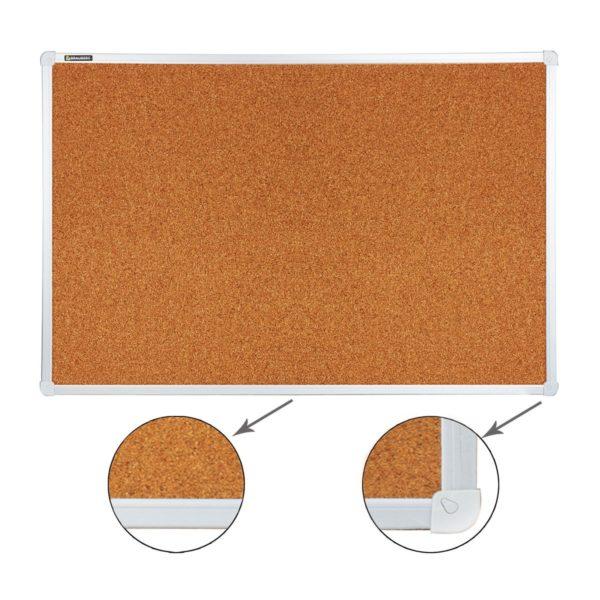 Доска пробковая BRAUBERG для объявлений, 60х90 см, улучшенная алюминиевая рамка