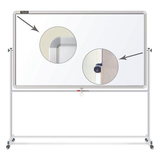 Доска магнитно-маркерная BRAUBERG 2-сторонняя, 90х120 см, на стенде, улучшенная алюминиевая рамка