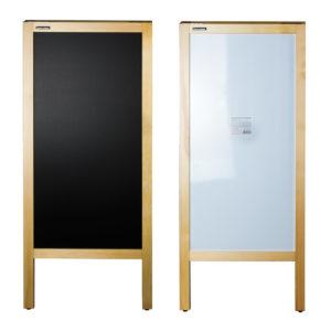 Доска-штендер магнитно-маркерная и для мела BRAUBERG, двусторонняя, 45х104 см, деревянная, неокрашенная рама, 236156