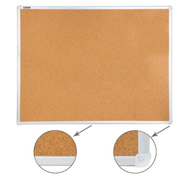Доска пробковая BRAUBERG для объявлений, 90х120 см, алюминиевая рамка, гарантия 10 лет, Россия, 236445