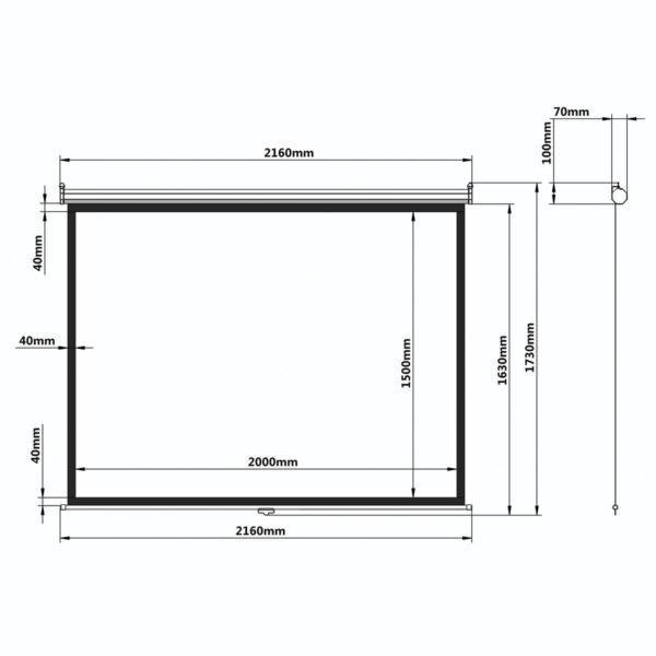 Экран проекционный BRAUBERG WALL, матовый, настенный, 150х200 см, 4:3, 236728