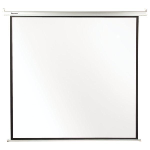 Экран проекционный BRAUBERG MOTO, матовый, настенный, электропривод, 180х180 см, 1:1, 236733