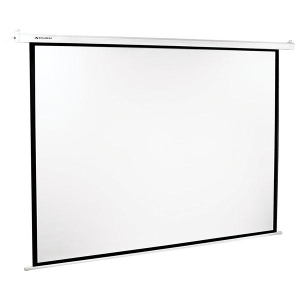 Экран проекционный BRAUBERG MOTO, матовый, настенный, электропривод, 180х240 см, 4:3, 236734