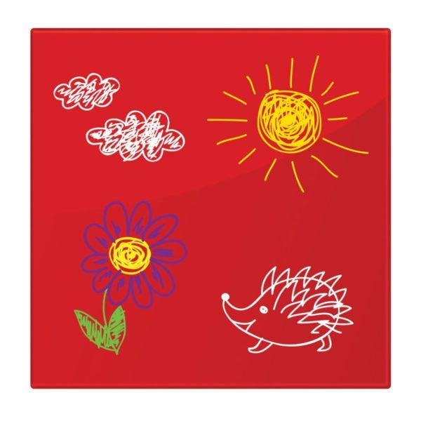 Доска магнитно-маркерная стеклянная, красная, 45х45 см, 3 магнита, BRAUBERG, 236737