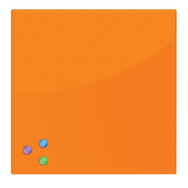 Доска магнитно-маркерная стеклянная, оранжевая, 45х45 см, 3 магнита, BRAUBERG, 236738