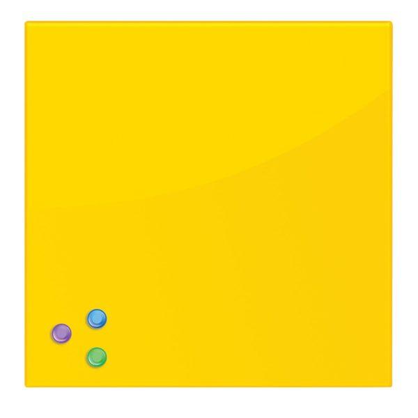 Доска магнитно-маркерная стеклянная, желтая, 45х45 см, 3 магнита, BRAUBERG, 236739