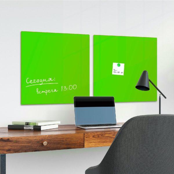 Доска магнитно-маркерная стеклянная, зеленая, 45х45 см, 3 магнита, BRAUBERG, 236740