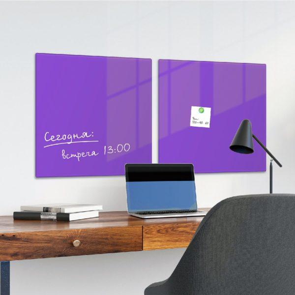 Доска магнитно-маркерная стеклянная, фиолетовая, 45х45 см, 3 магнита, BRAUBERG, 236743