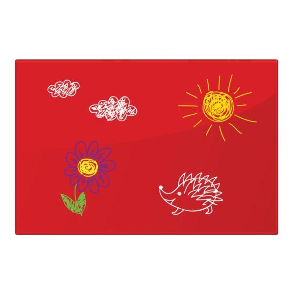Доска магнитно-маркерная стеклянная, красная, 60х90 см, 3 магнита, BRAUBERG, 236749