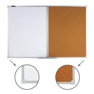 Доска комбинированная: магнитно-маркерная, пробковая, для объявлений, BRAUBERG, 60х90 см, Россия, 236864