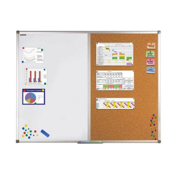 Доска комбинированная: магнитно-маркерная, пробковая, для объявлений, BRAUBERG, 90х120 см, 236865