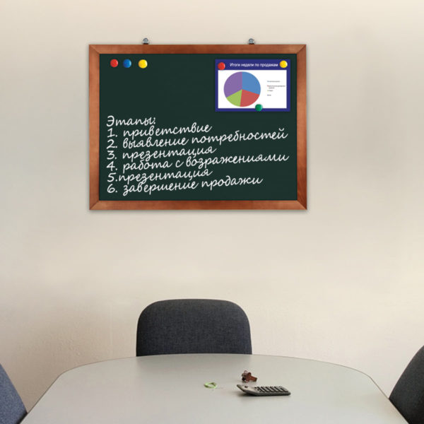 Доска для мела магнитная BRAUBERG, 60х90 см, зеленая, деревянная окрашенная рамка, Россия, 236890