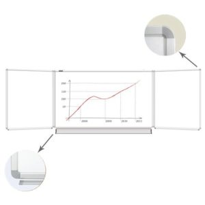Доска магнитно-маркерная BRAUBERG, 100х150/300 см, 3-х элементная, 5 рабочих поверхностей, белая, 231708