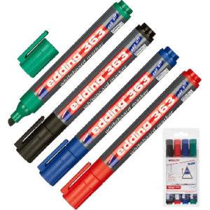 Набор маркеров для досок EDDING 363/4S, 1-5мм., cap-off,скошенный набор 4цв