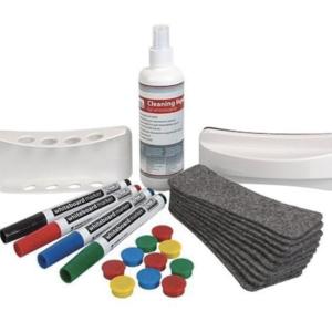 Набор для магнитно-маркерной доски (4 маркера, держатель, чистящее средство, стиратель, салфетки), «2х3» (Польша), AS111