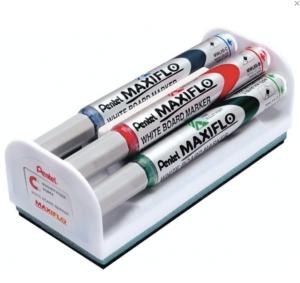 Набор для магнитно-маркерной доски (магнитный стиратель, 4 маркера), PENTEL (Япония) «MAXIFLO», MWL5S-4N