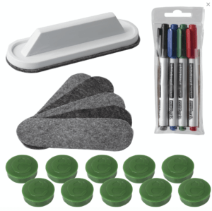 Набор для магнитно-маркерной доски (4 маркера + стиратель + чистящее средство + 10 магнитов), «2х3» ecoBoards, AS116